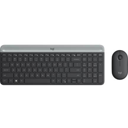 Kit Teclado y Mouse Logitech MK470 Inalámbricos Ultra Delgados Color Negro